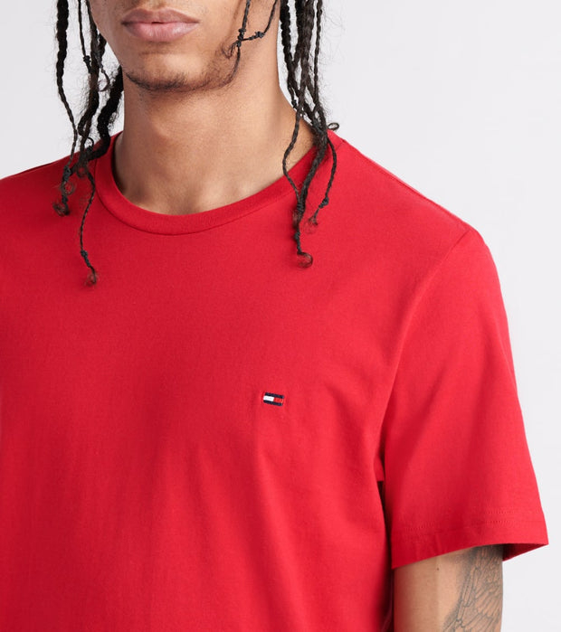 Tommy  Chest Logo Solid Tee  Red - 09T3139-608 | Jimmy Jazz