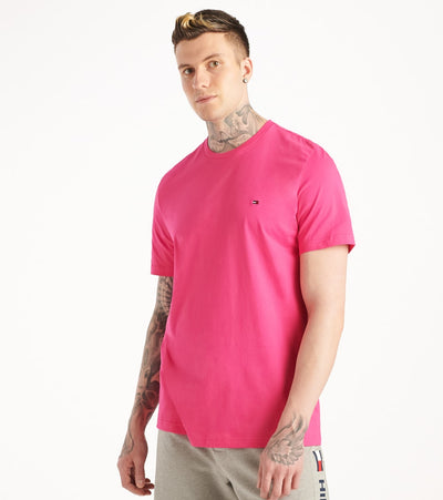 Tommy  Chest Logo Solid Crew Neck Tee  Pink - 09T3139-655 | Jimmy Jazz