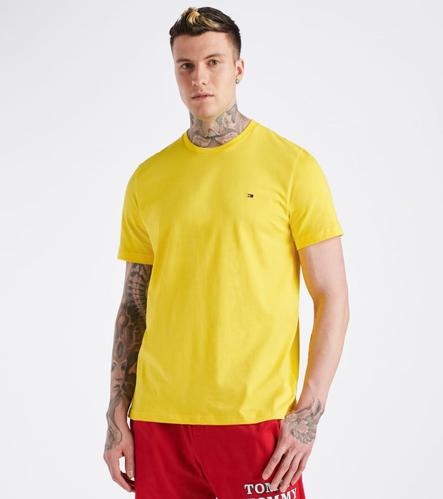 Tommy  Chest Logo Solid Crew Neck Tee  Yellow - 09T3139-732 | Jimmy Jazz
