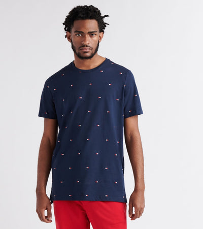 Tommy  All-Over Logo Tee  Navy - 09T3346-410 | Jimmy Jazz