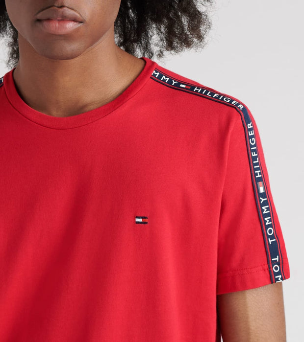 Tommy  Side Strip Logo Tee  Red - 09T3486-608 | Jimmy Jazz