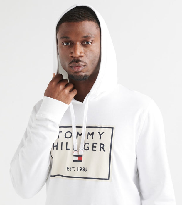 Tommy  Brushed Back Fleece Pullover Hoodie  White - 09T3648-100 | Jimmy Jazz