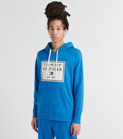 Tommy  Brushed Back Fleece Pullover Hoodie  Blue - 09T3648-437 | Jimmy Jazz