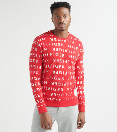 Tommy  Allover Hilfiger Brush Fleece Crewneck  Red - 09T3674-627 | Jimmy Jazz