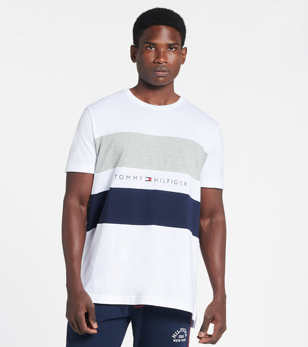 Tommy  Tommy Block Stripe Tee  White - 09T3767-100 | Jimmy Jazz