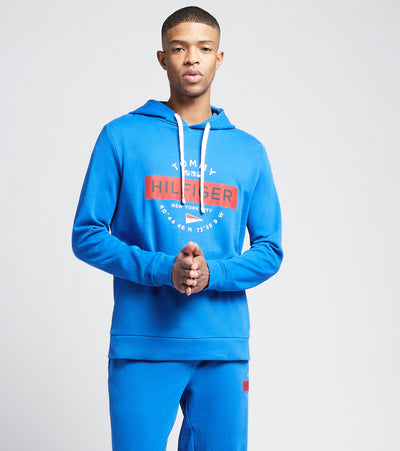 Tommy  Front Graphic Pull Over Hoodie  Blue - 09T3994-433 | Jimmy Jazz