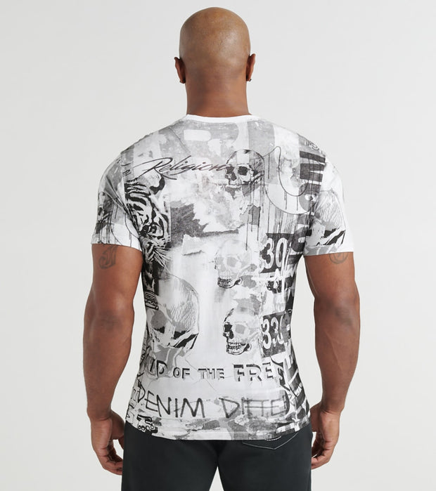 True Religion  Collage All Over Print Tee  White - 1028311700-WHT | Jimmy Jazz