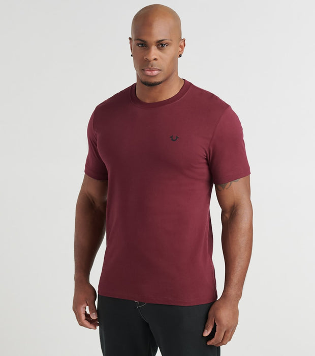 True Religion  Logo Crew Tee  Burgundy - 1033086007-DGT | Jimmy Jazz