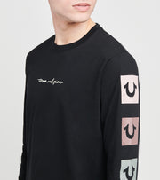True Religion  Scrip Box Logo Long Sleeve Tee  Black - 104836-1001 | Jimmy Jazz