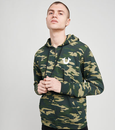 True Religion  Buddha Logo Zip Up Hoodie  Camo - 105338-9602 | Jimmy Jazz