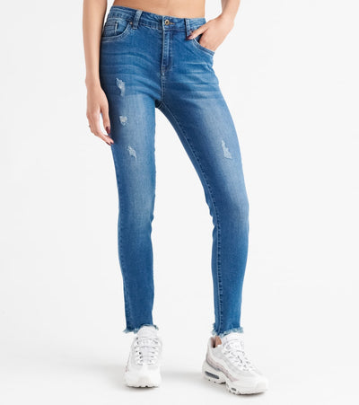 Funky Soul  Hi-Rise Hem Denim Jeans  Blue - 112014301-MDB | Jimmy Jazz