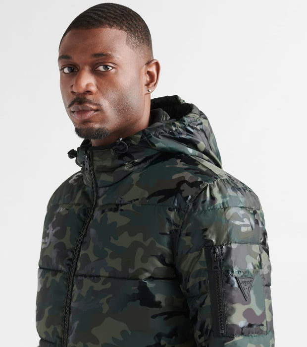 Guess  Liquid Camo Puffer  Green - 119RP294-OC1 | Jimmy Jazz
