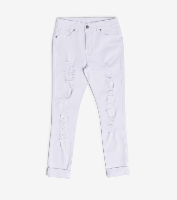 Essentials  Destructed Skinny Jean  White - 16479WHT-WHT | Jimmy Jazz