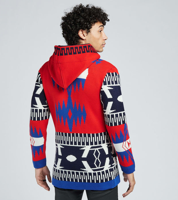 One In A Million  Tribal Hooded Long Sleeve Cardigan  Blue - 20069-ROY | Jimmy Jazz