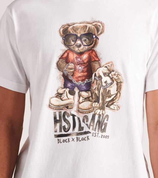 Hustle Gang  Sketch Bear and Pup Short Sleeve Tee  White - 2010223-WHT | Jimmy Jazz