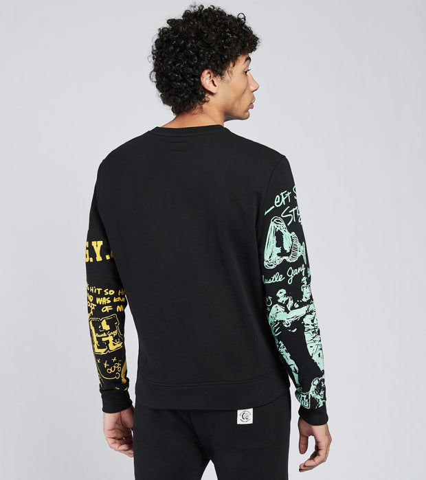 Hustle Gang  All in Long Sleeve Crew Shirt  Black - 2018316-BLK | Jimmy Jazz
