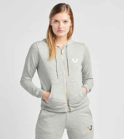 True Religion  Victorious Zip Hoodie  Grey - 204026-1501 | Aractidf