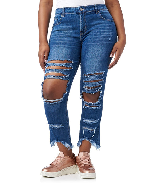 Essentials  Plus Open Knee Destroyed Jean  Blue - 2170009DBX-DBW | Jimmy Jazz