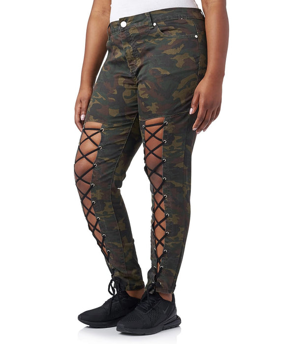 Essentials  Plus Camo Corset Detail Jean  Multi - 2170150AMX-CAM | Jimmy Jazz