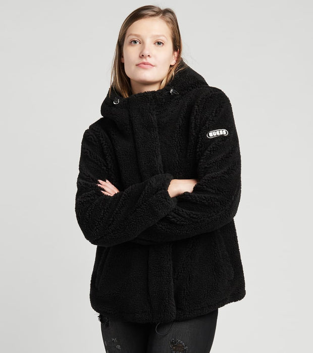 Guess  Hooded Teddy Faux Fur Jacket  Black - 22KMF455-BLK | Jimmy Jazz
