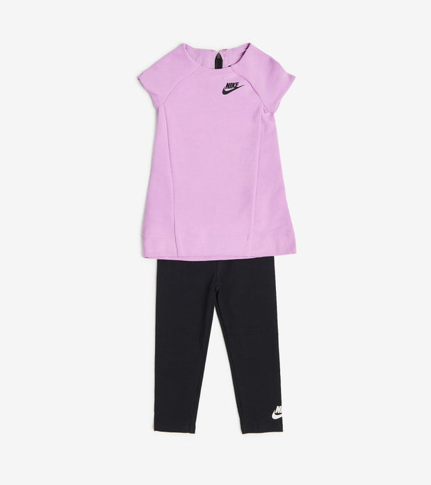 Nike  Girls Tech Fleece Dress and Leggings Set  Pink - 26C084-P3R | Jimmy Jazz