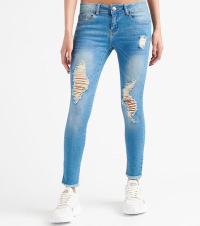 Essentials  Destroyed Skinny Roll Cuff Jeans  Blue - 270735MB-MBL | Jimmy Jazz
