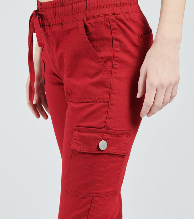 Essentials  Twill Cargo Jogger Pants  Burgundy - 280267BRG-BRG | Jimmy Jazz