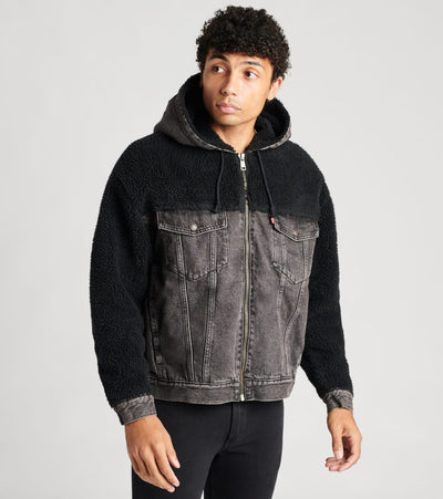 Levis  Hooded Hybrid Sherpa Trucker Jacket  Black - 28875-0006 | Jimmy Jazz