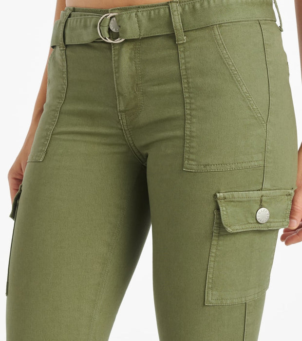 Essentials  Belted High Waist Jogger  Green - 290073LOBT-OLV | Jimmy Jazz