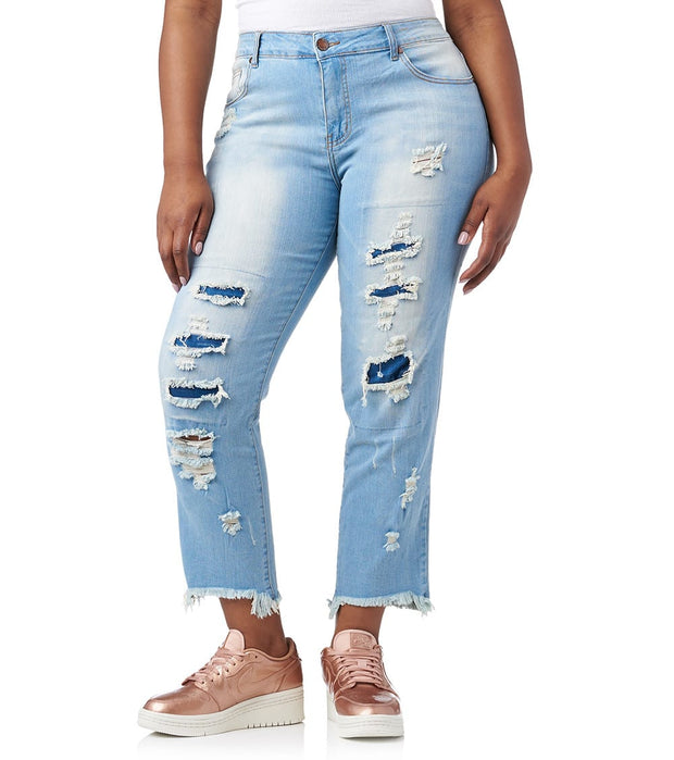 Essentials  Plus Rip And Repair Frayed Jeans   Blue - 29486MBX-MBW | Jimmy Jazz