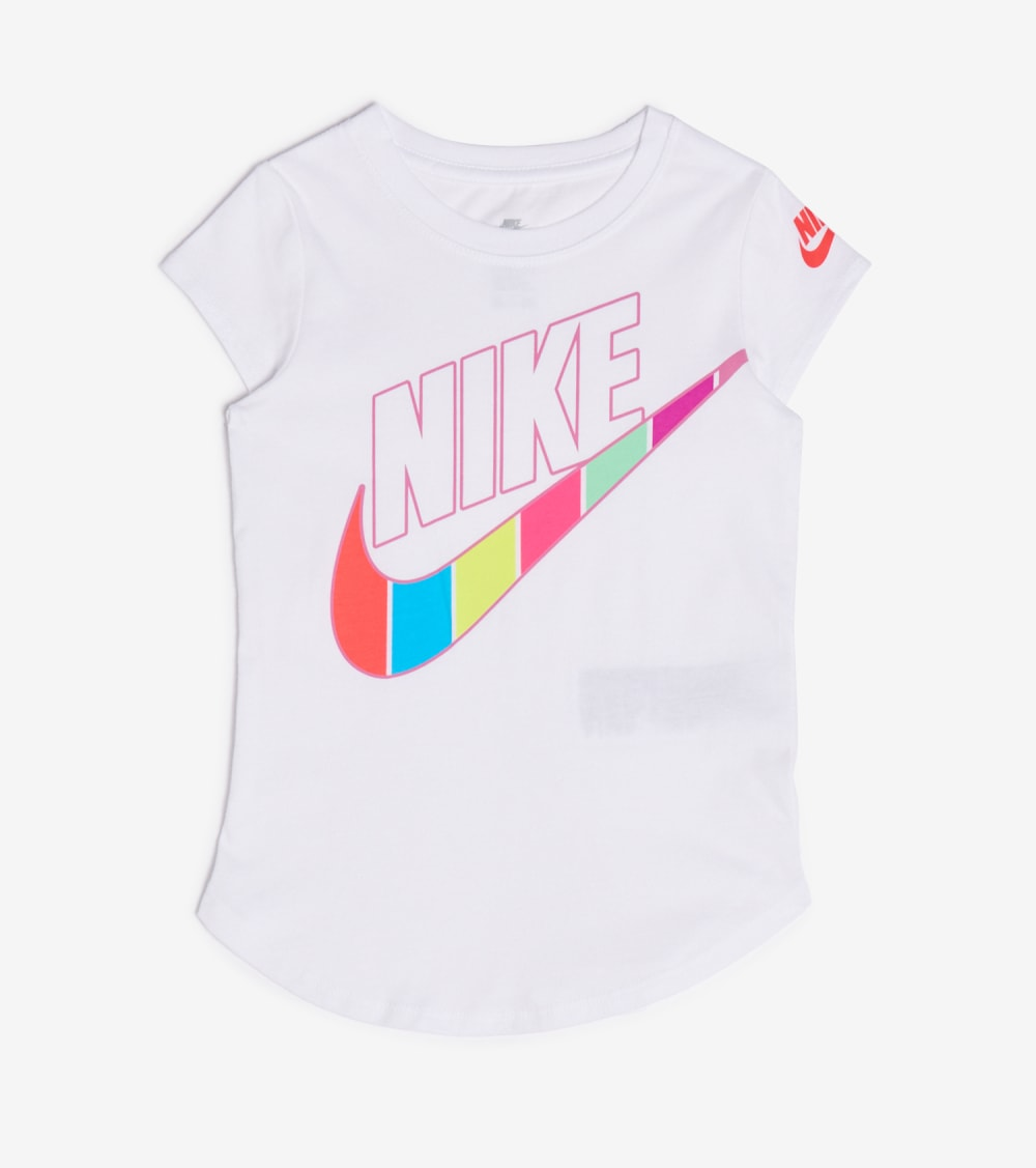Nike  Girls 4-6x Retro Stripe Scoop Tee  White - 36G486-001 | Jimmy Jazz