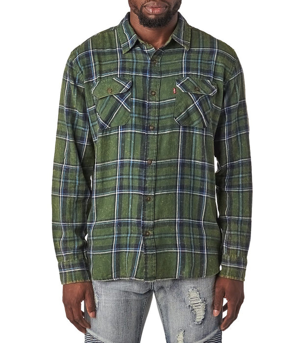Levis  Fulvio Long Sleeve Woven Shirt  Green - 3LGLW1302-SCM | Jimmy Jazz