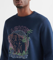Levis  Kaybee Long Sleeve Fleece Crewneck  Blue - 3LSP3722F-DBL | Jimmy Jazz