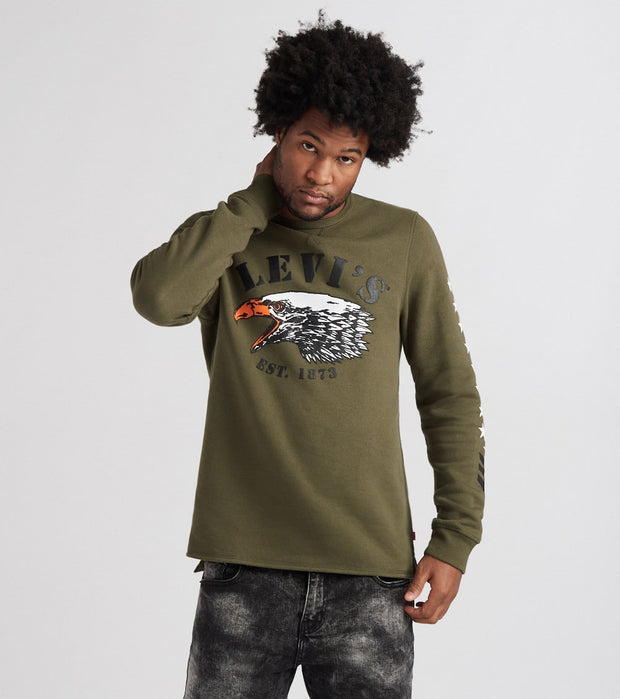 Levis  Kaputt Crew Fleece Sweatshirt  Green - 3LVYM3151CF-OLN | Jimmy Jazz