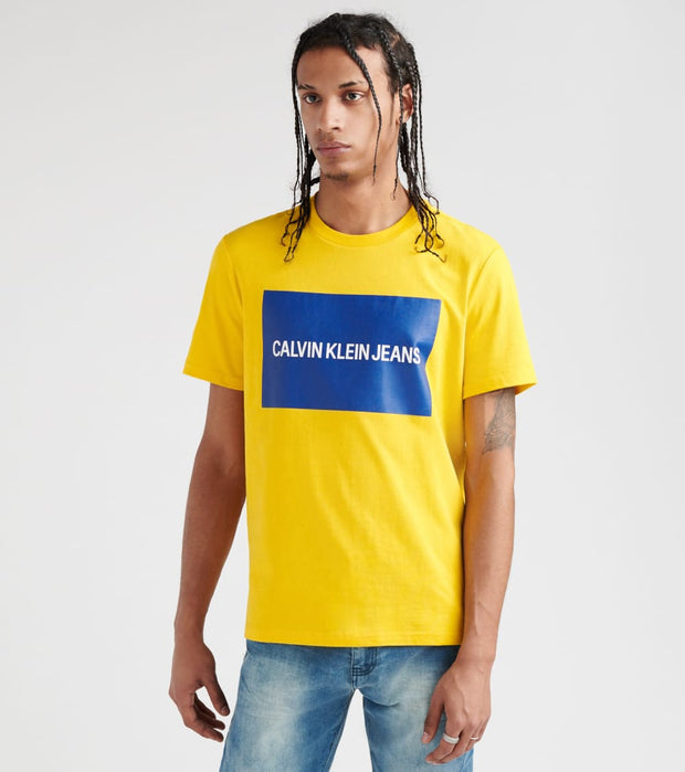 Calvin Klein  Box Logo Crew Tee  Yellow - 41J7444-702 | Jimmy Jazz