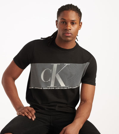 Calvin Klein  Flash Stripe CK Crew Tee  Black - 41VM802-010 | Jimmy Jazz