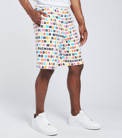 Moschino  Multi Color All Over Print Logo Fleece Shorts  White - 43138106-1001 | Jimmy Jazz