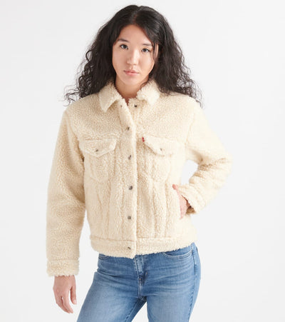 Levis  All Over Sherpa Trucker Jackets  White - 56861-0003 | Jimmy Jazz