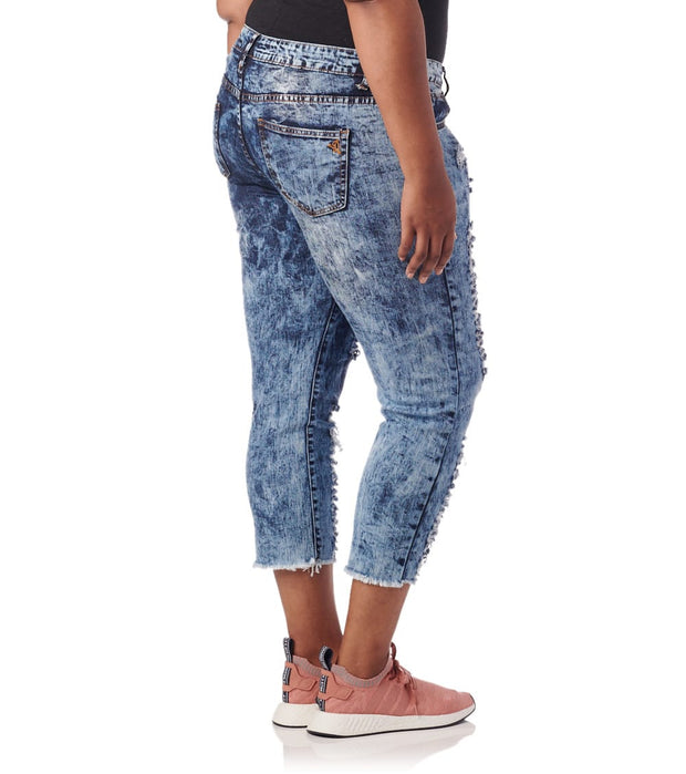 Essentials  Plus Destroyed Acid Wash Jeans  Blue - 570834DBX-DAW | Jimmy Jazz