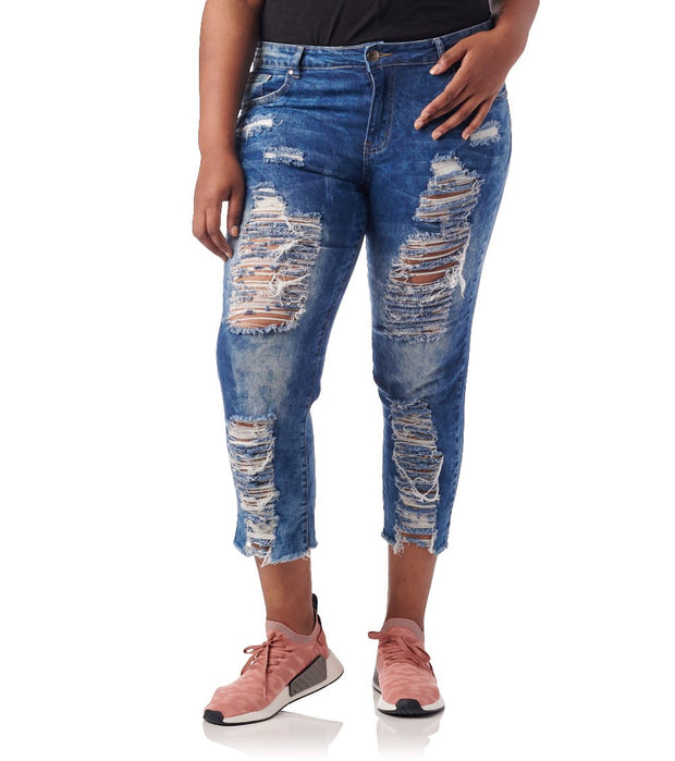 Essentials  Plus Destroyed Acid Washed Jean  Blue - 570834MBX-MAW | Jimmy Jazz