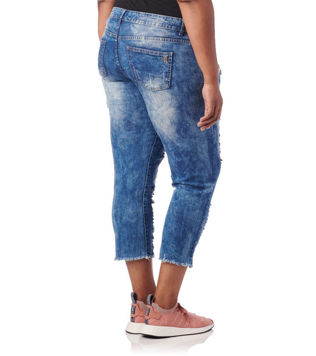 Essentials  Plus Destroyed Acid Wash Jeans  Blue - 570834MBX-MAW | Jimmy Jazz