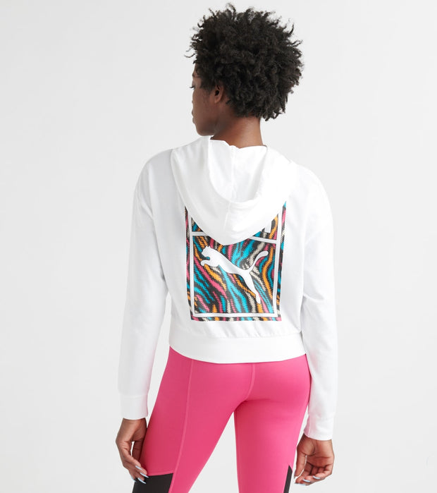 Puma  Wild Pack Cropped Hoodie  White - 57961271-100 | Jimmy Jazz