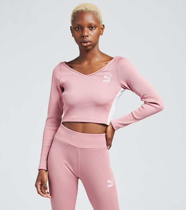 Puma  Classics Ribbed Long Sleeve Cropped Top  Pink - 59764816-690 | Jimmy Jazz