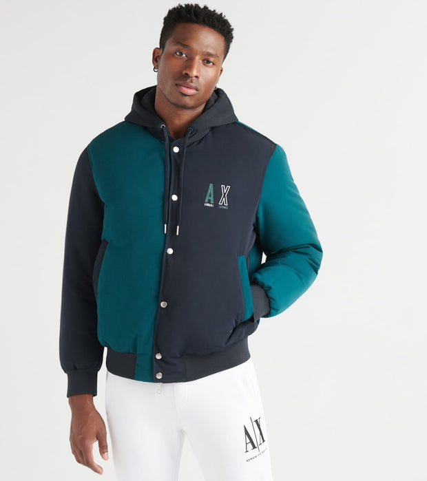 Armani Exchange  AX COLOR BLOCK BOMBER W HOOD  Navy - 6GZB46ZNEHZ-7513 | Jimmy Jazz