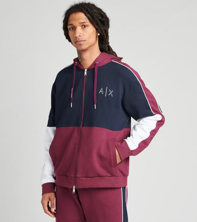 Armani Exchange  Tri Color Hooded Zip Up Sweatshirt  Purple - 6HZMAAZJ7RZ6239 | Jimmy Jazz