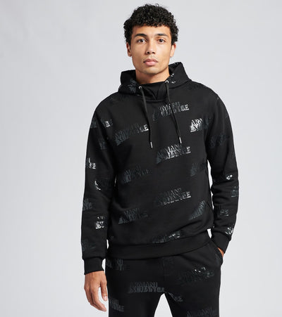 Armani Exchange  All Over Logo Hooded Sweatshirt  Black - 6HZMAGZJU1Z7244 | Jimmy Jazz