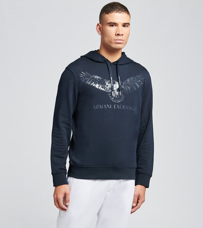 Armani Exchange  Eagle Logo Hooded Sweatshirt  Navy - 6HZMFYZJ5CZ1510 | Jimmy Jazz