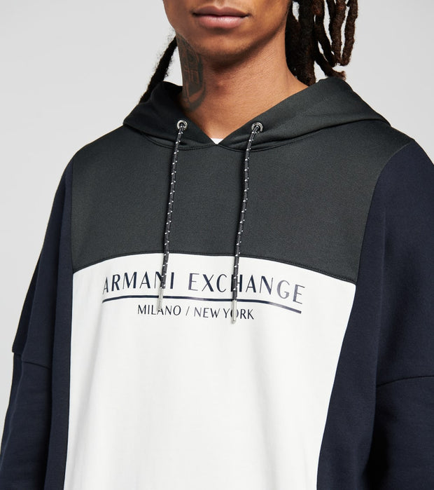 Armani Exchange  Tri Color Hooded Sweatshirt  Black - 6HZMLEZJLBZ6708 | Jimmy Jazz