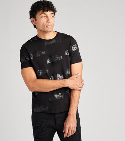Armani Exchange  All Over Logo Short Sleeve Shirt  Black - 6HZTFBZJH4Z7244 | Jimmy Jazz