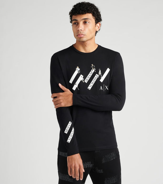 Armani Exchange  Logo Long Sleeve Tee  Black - 6HZTFVZJBVZ1200 | Jimmy Jazz